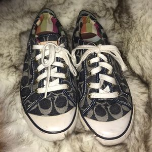 Coach blue signature c tennis shoes 8.5